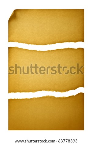 Old paper torn into three pieces with a curved corner isolated over white background - stock photo