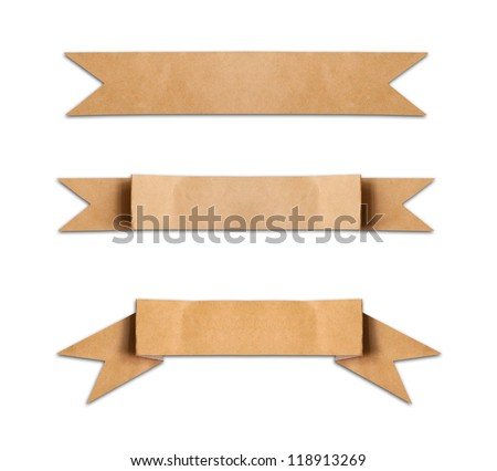 old paper use as label banner on white background - stock photo