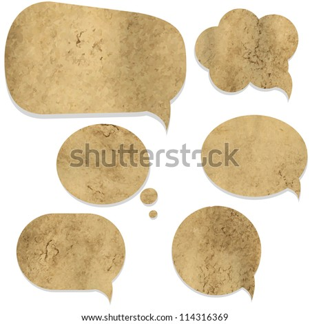 Old Paper Vintage Speech Bubble, Isolated On White Background - stock photo