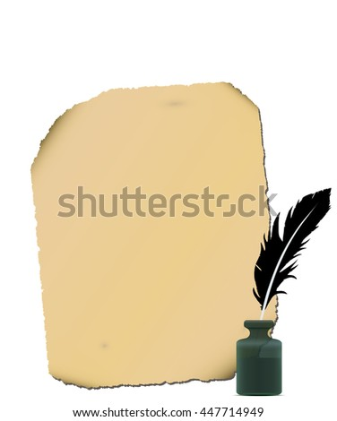 Old paper, white feather, inkwell close-up isolated. - stock photo