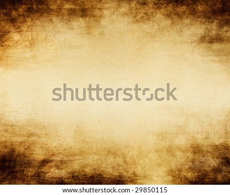 Old paper with a grungy dark vignette effect and glowing center. - stock photo