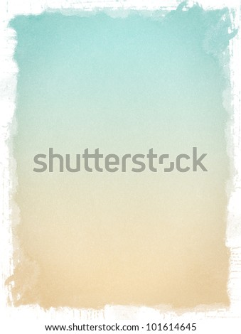 Old paper with a vintage colored gradient and textured grunge borders. Image has a pleasing paper grain at 100%. - stock photo
