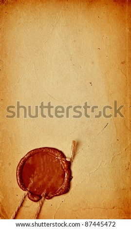 old paper with a wax seal - stock photo