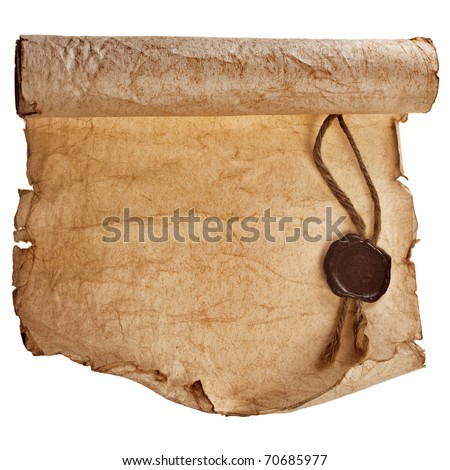 old paper with a wax seal isolated on a white background