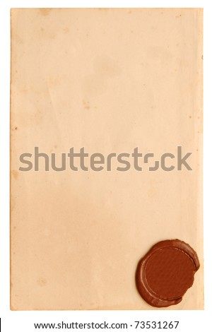 Old paper with a wax seal on a white background - stock photo