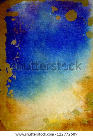 Old paper with abstract watercolor paint: textured background with yellow, blue, and brown patterns. For art texture, grunge design, and vintage paper / border frame - stock photo