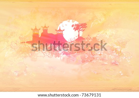 old paper with Asian Landscape - stock photo