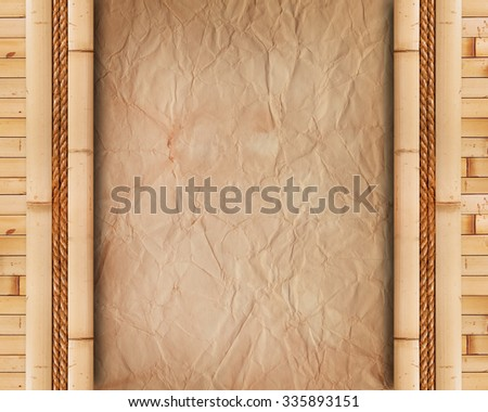 Old paper with bamboo frame - stock photo