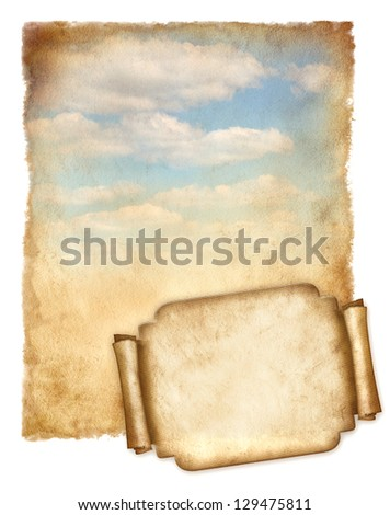 Old paper with blue sky and banner  isolated on white - stock photo