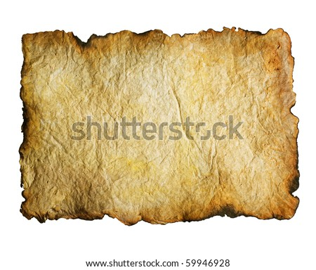 Old Paper with burned edges over white - stock photo