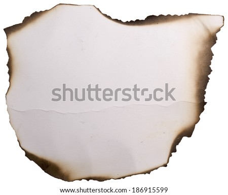 old paper with burnt edges on a white - stock photo