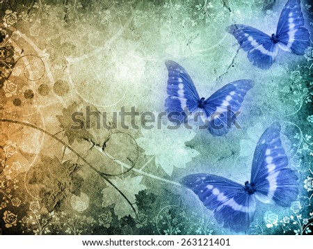 old paper with butterfly - stock photo