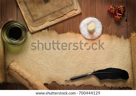 Quill Pen Inkwell On Vintage Paper Stock Photo 111331457 ...
