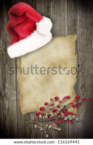 Old paper with christmas inducement - stock photo