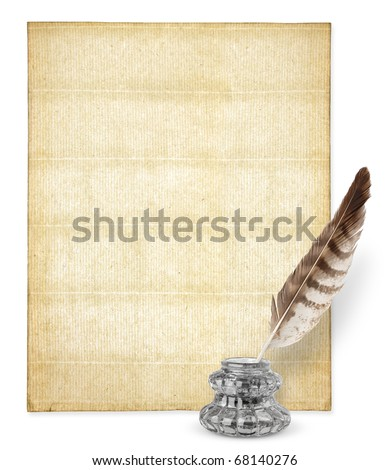 Old paper with copy space and inkstand isolated on white - stock photo