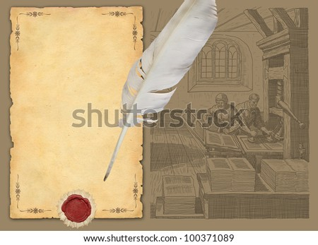 Old paper with feather and typography workshop illustration - stock photo