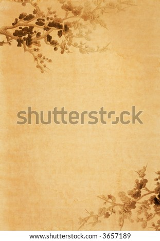 old paper with floral design - stock photo