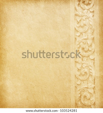 Old paper with floral ornament - stock photo