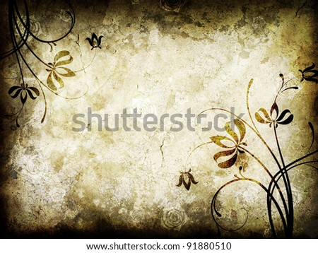 Old paper with floral pattern - stock photo