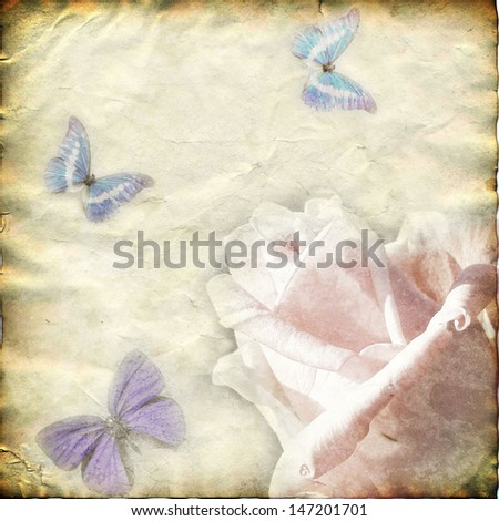 old paper with flowers and butterflies