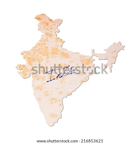Old paper with handwriting, blue ink - India - stock photo