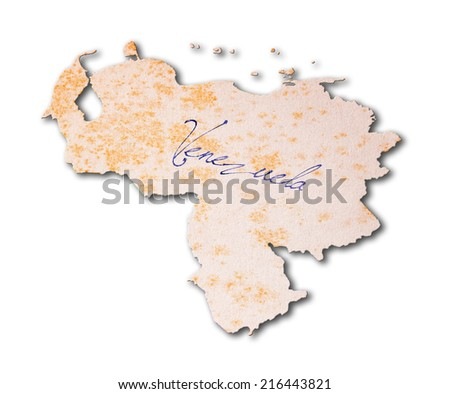 Old paper with handwriting, blue ink - Venezuela - stock photo