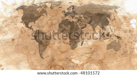 old paper with map of the world - stock photo