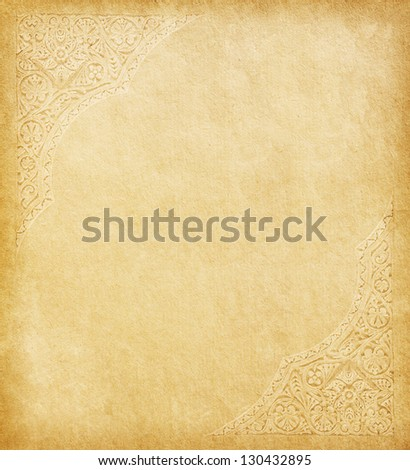 Old paper with oriental ornament. - stock photo