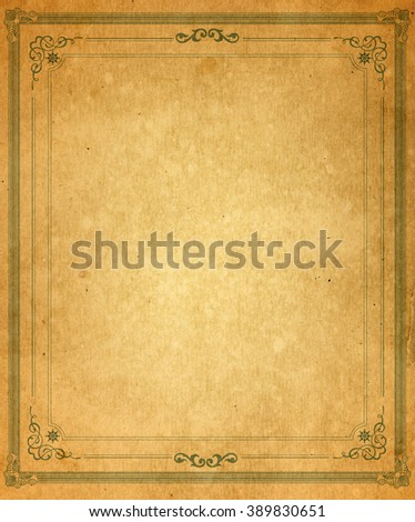 Old paper with patterned vintage frame - blank for your design - stock photo