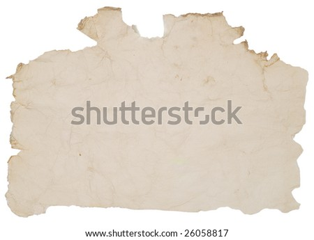 old paper with rough edges over white