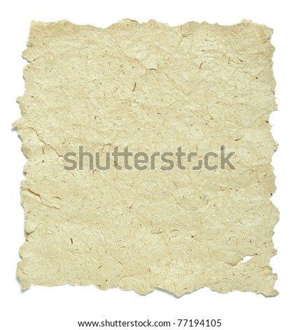 old paper with rough edges over white background - stock photo