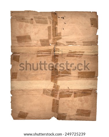 Old paper with scotch tape - stock photo