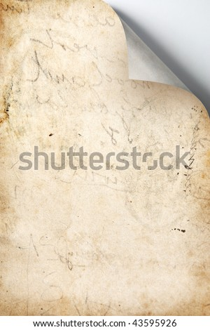 Old Paper with Scribble Marks and Corner Curl - stock photo