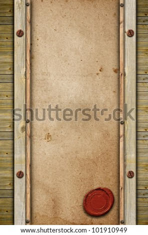 old paper with seal wax on wooden background - stock photo