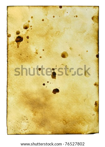 Old paper with stains isolated over the white background - stock photo
