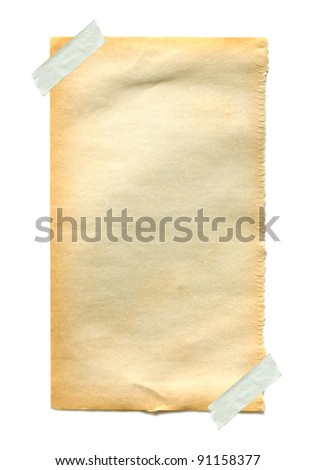 Old  paper with sticky tape on white background - stock photo
