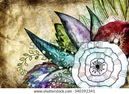 Old paper with watercolor flowers - stock photo