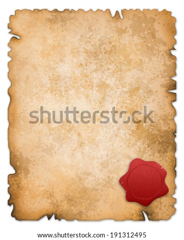 Old paper with wax seal isolated. Clipping path is included. - stock photo