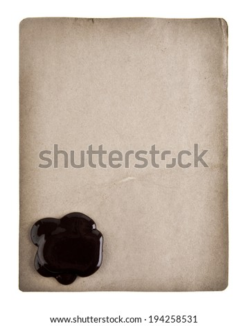 old paper with wax seal to the white background - stock photo