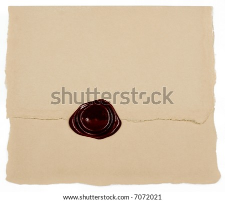 Old paper with wax stamp - stock photo