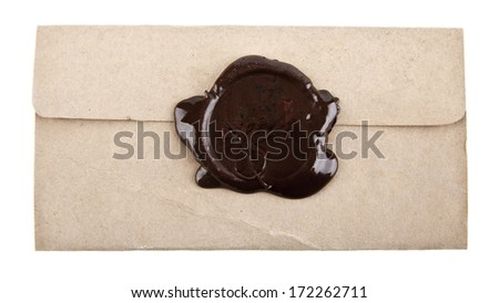 Old paper with wax stamp on a white background - stock photo