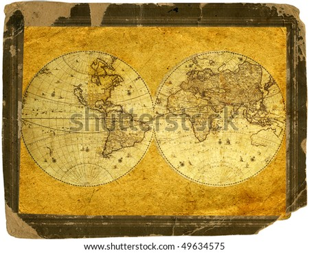 Old paper world map. - stock photo