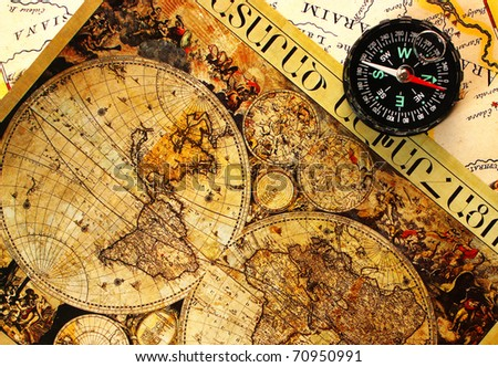 Old paper world map and a compass, Armenia. - stock photo