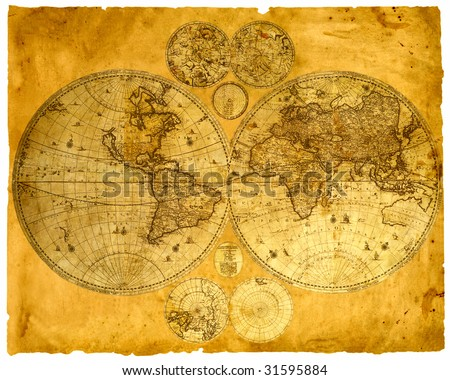 Old paper world map, Armenia. - stock photo