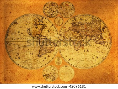Old paper world map,Armenia. - stock photo