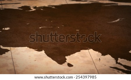 Old paper World Map, Macro, Center Asia, A. - stock photo