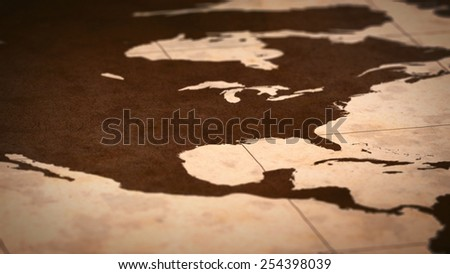 Old paper World Map, Macro, North America, USA, A. - stock photo