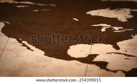 Old paper World Map, Macro, North America, USA, B. - stock photo