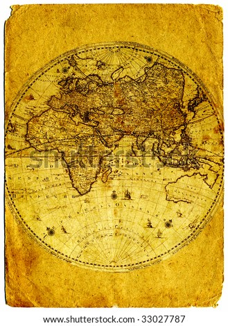 Old paper world map retro ancient Armenia. - stock photo