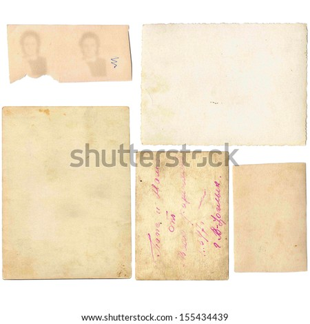 Old papers set isolated on white background. Scrapbooking kit. - stock photo